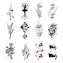 1PC Popular Women Tattoo Sticker Black White Temporary Beautiful Pattern Art Fake Water Transfer Bod