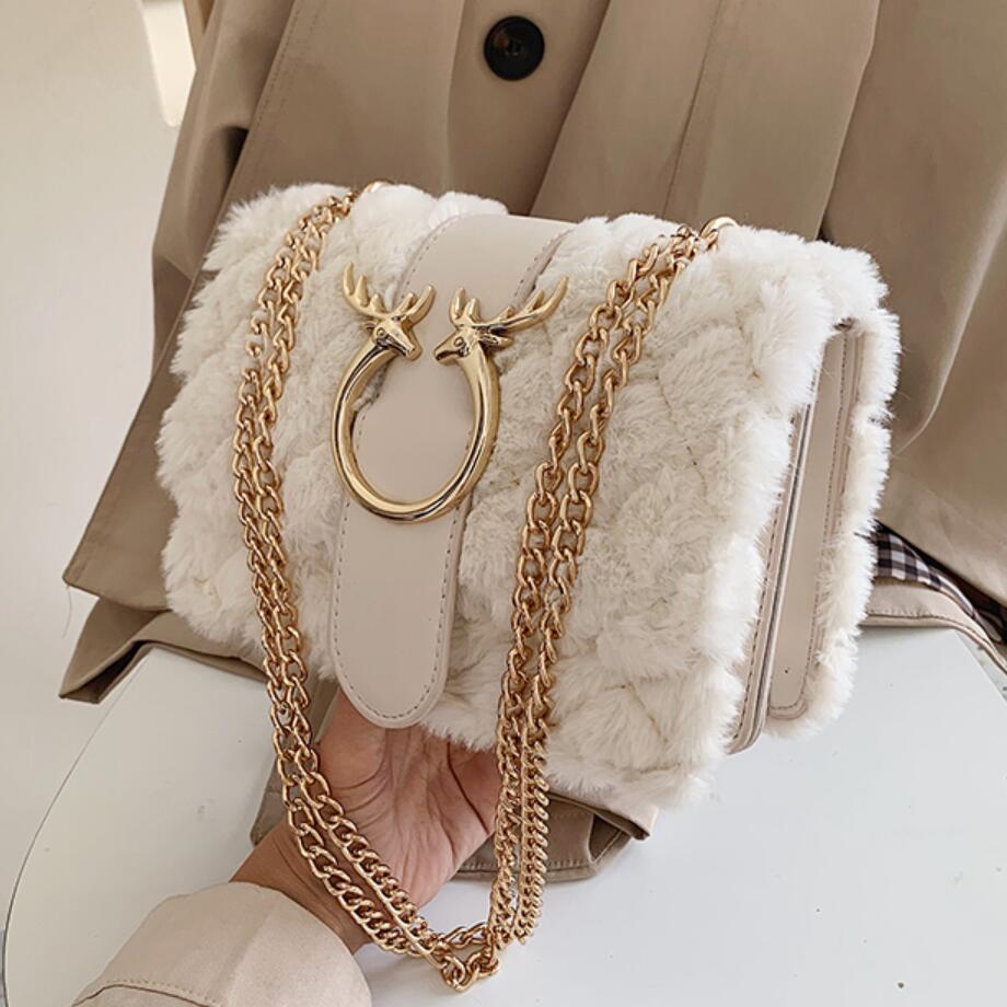 Elegante bolso cuadrado a cuadros para mujer, Invierno 2019, nueva calidad, suave felpa, bolso de diseñador para mujer, cadena de bloqueo, bolsas de mensajero de hombro