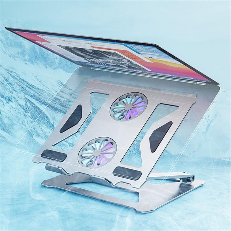 Soporte de mesa plegable para ordenador portátil de doble ventilador de refrigeración...