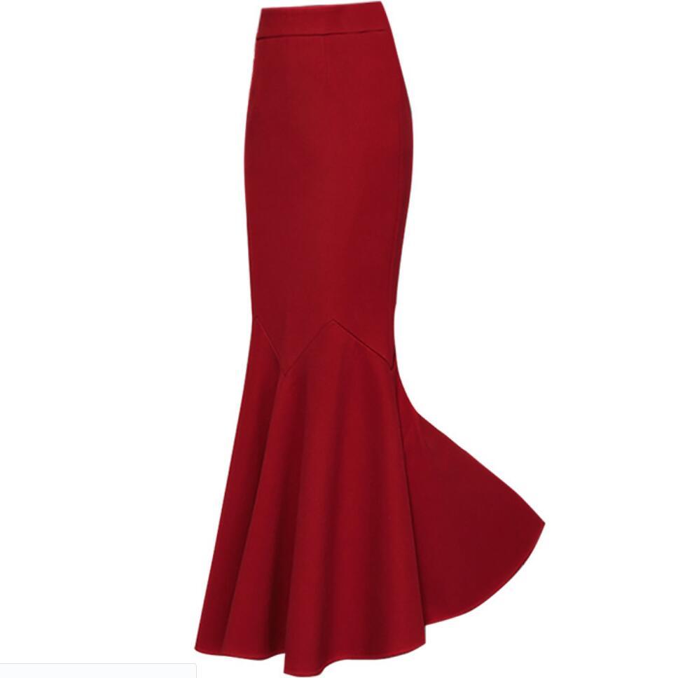 Plus tamanho 3xl! outono inverno quente ol sereia de lã saia feminina cintura alta elástico tornozelo comprimento trompete saia
