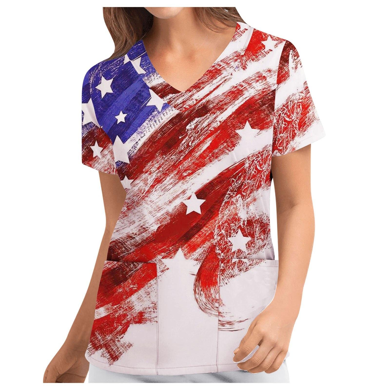 Hospital Carer Nurse Uniform Women Independence Day Flag Print Working Scrub Top With Pockets For Beauty Salon Gorro Enfermera