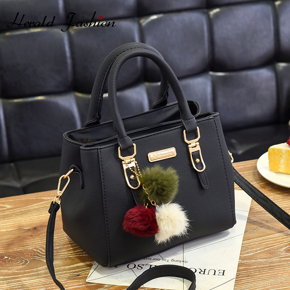 Fashion Top-handle Bag with Hair Ball Women Hanbag Quality Leather Female Shoulder Bag Casual Tote Bag Ladies' Messenger Bag