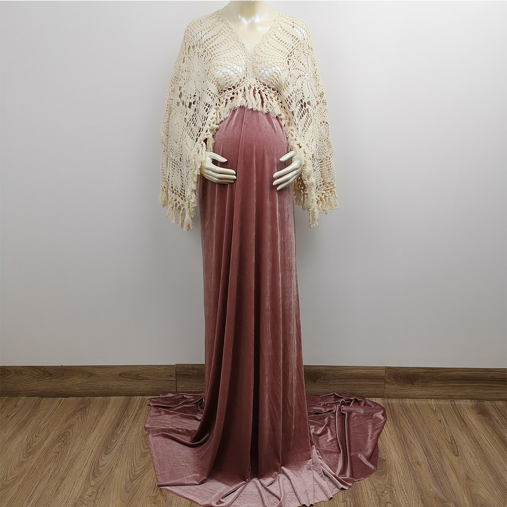 Boho Cotton Hand Crochet Long Bell Sleeves Maternity  Dress Pregnant Velvet Robe for Woman Photography Prop Baby Shower Gift enlarge