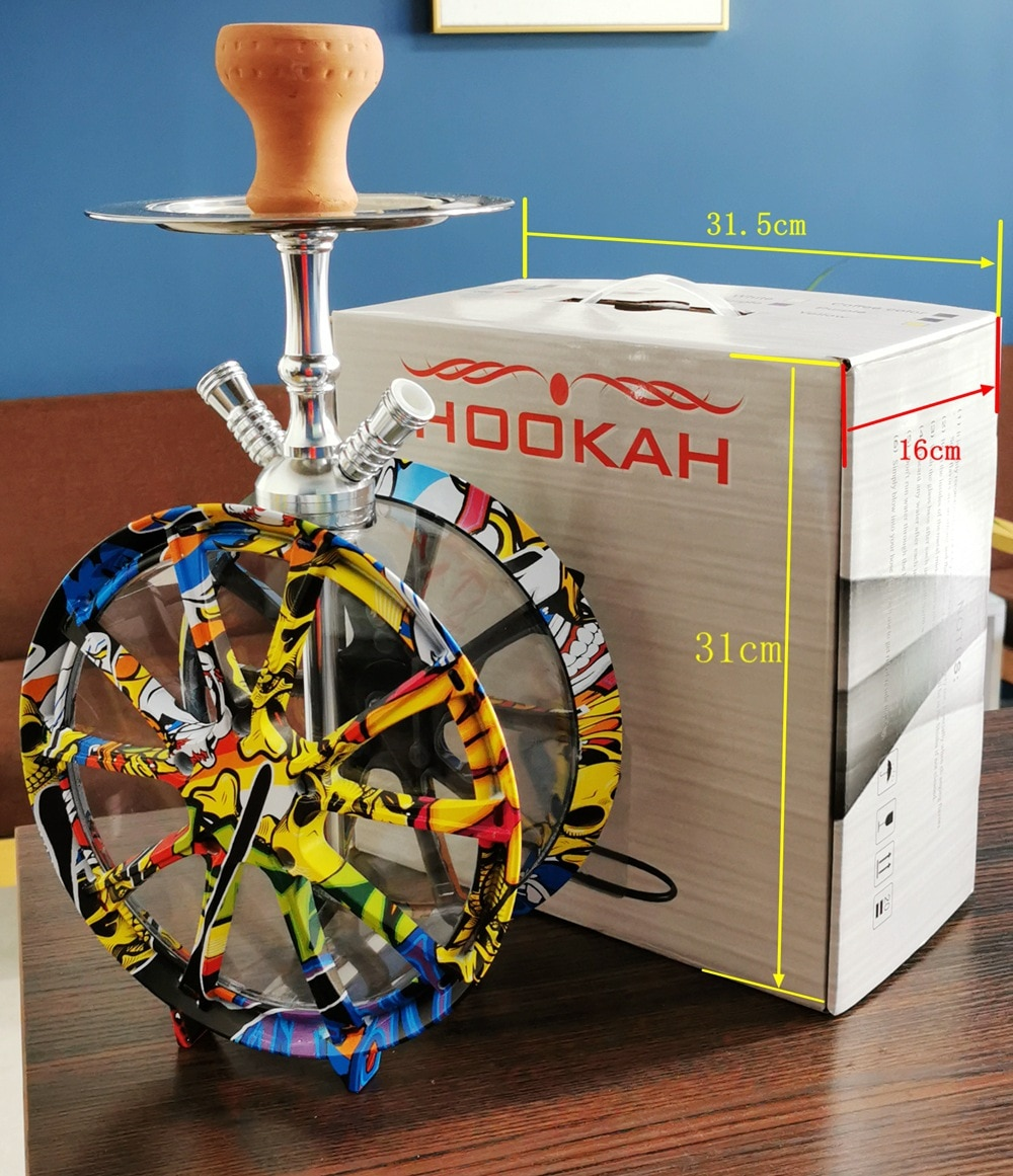 High Quality Wheel shaped Glass Hookah Set Shisha with LED lights Ceramic Bowl and Silicone double Hose Accessories enlarge