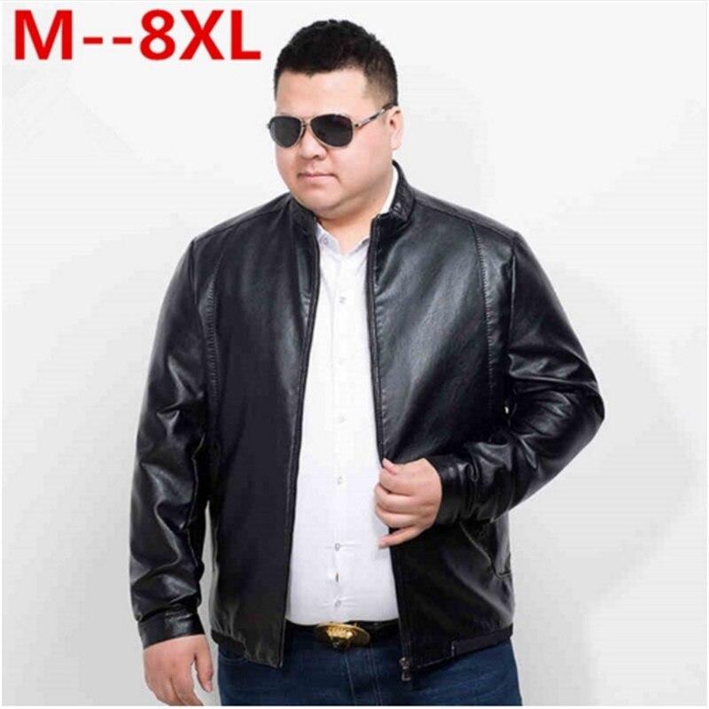 10XL 8XL 6XL رجالي سترات من الجلد موضة فضفاض الصلبة معطف بولي Clothes الملابس الذكور الشتاء طويلة الأكمام الوقوف طوق دراجة نارية الجلود