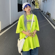 Summer 2021 New Korean Style Ins Harajuku Style Retro Rainbow Letter Print Loose Short Sleeve T-shir