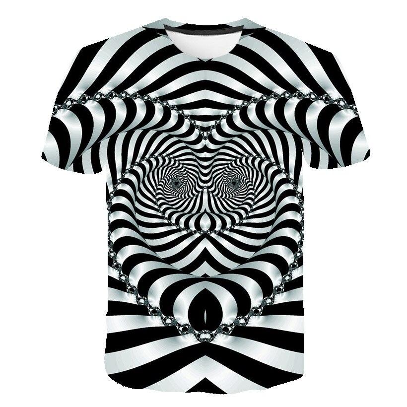 2021 Summer 3D Visual Pattern Digital Printed t-Shirt Mens Round Neck Casual Short Sleeve Street T-Shirt