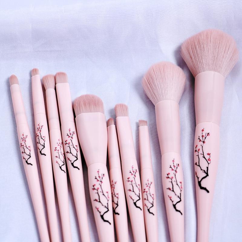 10Pcs Makeup brushes set Professional Natural hair brushes Foundation Powder Contour Eyeshadow make up brushes недорого