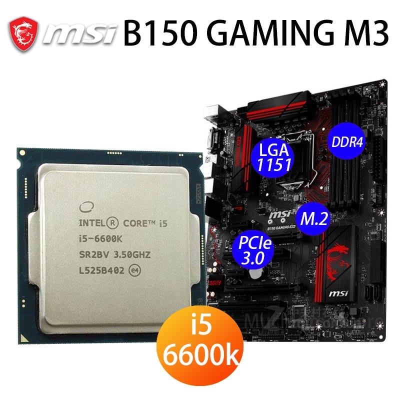 LGA 1151 MSI B150 GAMING M3 CPU Intel Core i5 6600K اللوحة الأم DDR4 PCI-E 3.0 M.2 HDMI متوافق B150 Placa-m' 1151 ATX