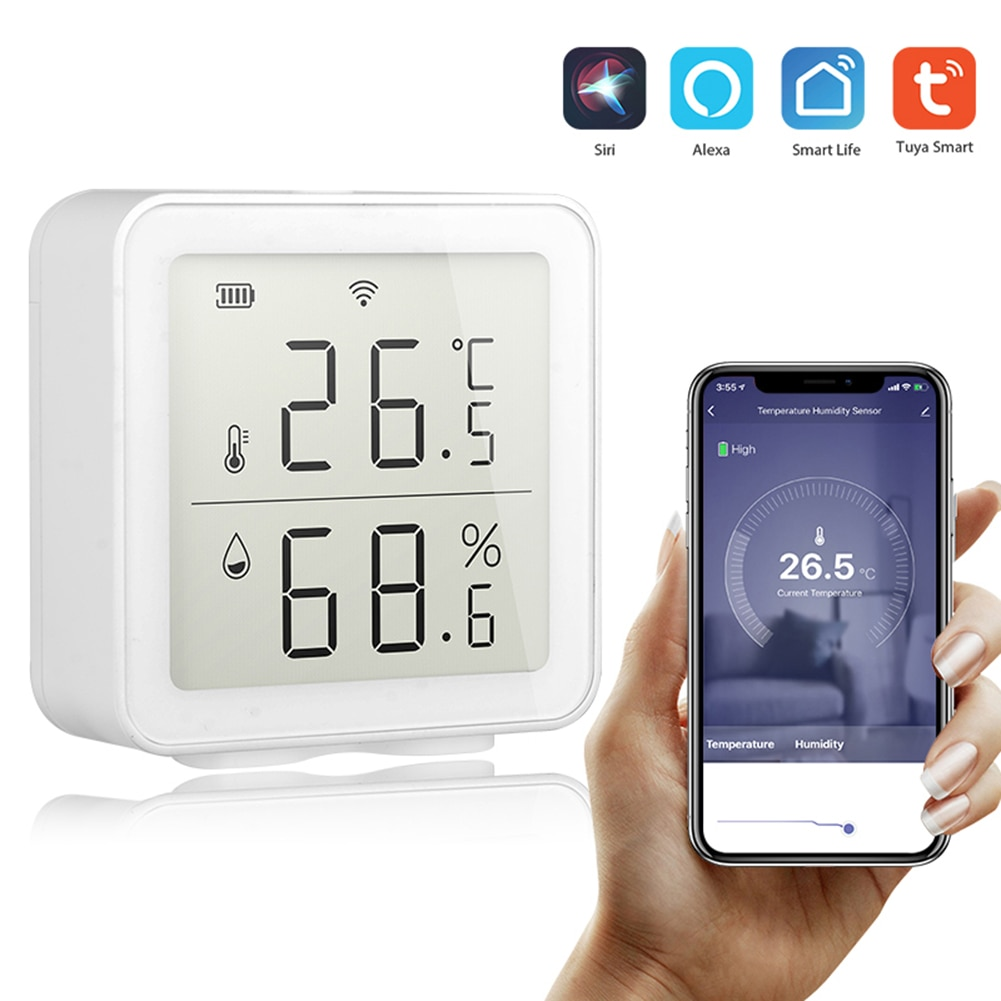 Tuya WIFI Temperature And Humidity Sensor Indoor Hygrometer Thermometer With LCD Display Working Wit