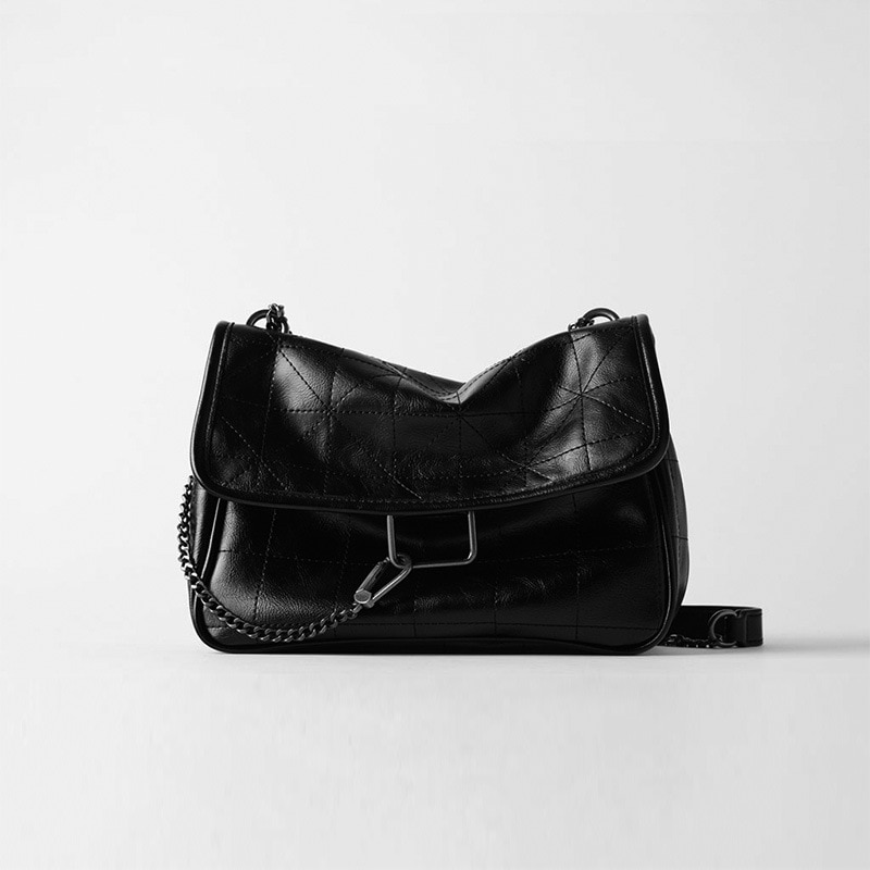 New Rhombus Black Rock Soft Flap Single Shoulder Crossbody Pack Chain Bag Luxury Handbags for Woman 2021 PU Leather Messenger