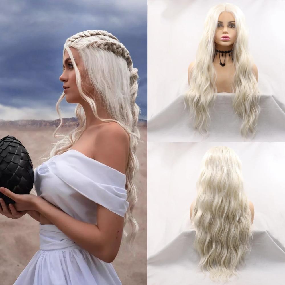 سيلفيا-شعر مستعار صناعي مموج بدون غراء ، طويل ، أشقر ، مع فراق في المنتصف ، مقاوم للحرارة ، تأثيري ، مظهر طبيعي
