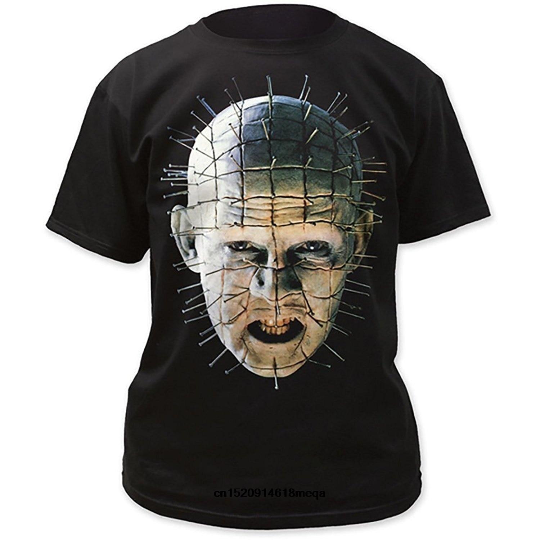 Забавные футболки Hellraiser Pinhead крупным планом большой принт фильм Мужская Черная футболка