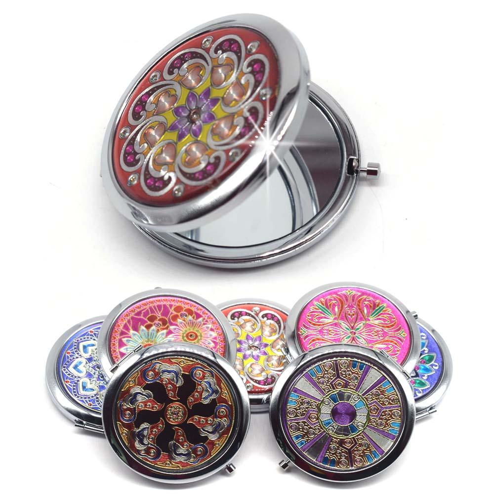 Espejo compacto de maquillaje de Metal de bolsillo plegable portátil para mujer, Mini espejo de aumento de belleza Normal, espejos de doble cara