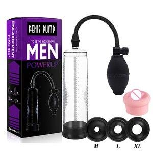 Male penis length extender, penis enlargement plastic material vacuum  pump, erotic male sex toys to enlarge genital members