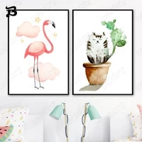 canvas painting cat green plants pink flamingo potted plant wall art nordic posters and prints for living room home wall decor