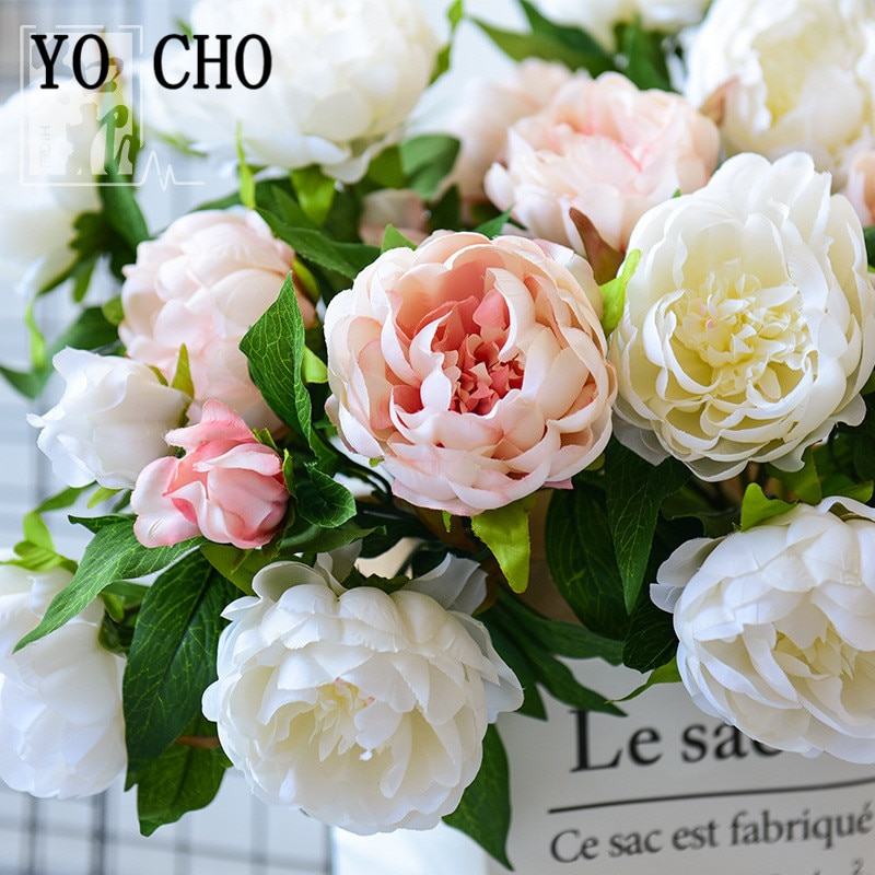YO CHO Artificial Flower 3 Heads Silk Peony DIY Bridal Bouquet Fake Peony Flower Arrangement Home Party Wedding Table Decoration