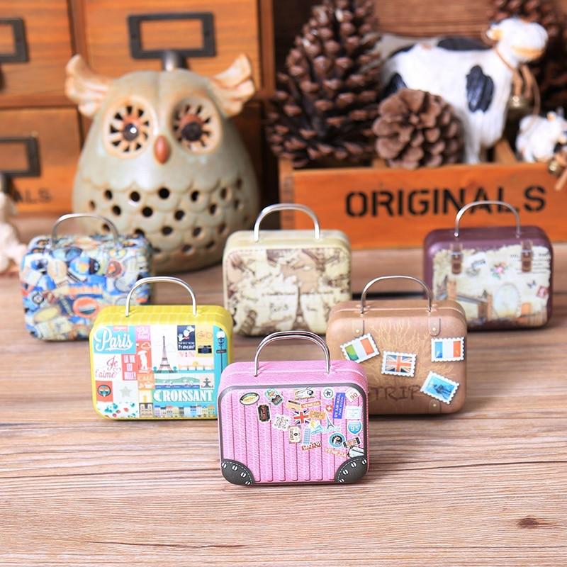 Vintage mini mala forma caixa de doces festa de aniversário casamento favor caixa de armazenamento organizador
