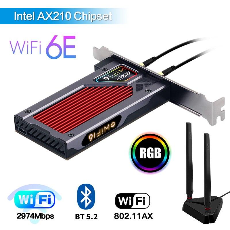 محول Intel AX210NGW pcie واي فاي 2.4G/5G/6GHz 802.11AX/التيار المتناوب بلوتوث 5.2 واي فاي 6E شبكة لاسلكية Wlan بطاقة سطح المكتب ويندوز 10