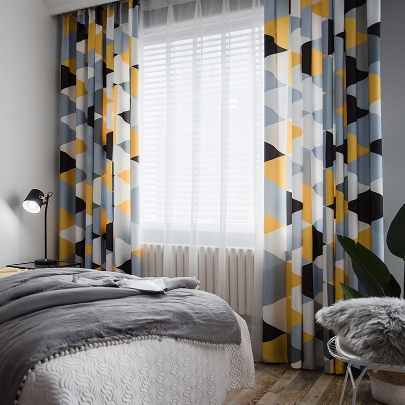 ستائر حديثة وبسيطة ، بنمط هندسي أصفر ورمادي ، لغرفة المعيشة وغرفة النوم ، علاجات النوافذ المصنوعة من القماش شبه المظلل