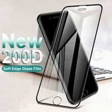200D Bord Incurvé Verre Trempé Protecteur Sur Le Pour iPhone 6 6S 7 8 Plus X XS Verre XR 11Pro Xs Max Protecteur Décran Film Case