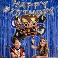 cartoons magical wizard party ballons with rain silk curtain great for wizard magician birthday themed parties