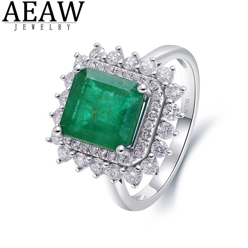 4ct الطبيعية الزمرد الأخضر الأحجار الكريمة الجانب 1ctw الماس الحقيقي خواتم الزفاف المشاركة للنساء خاتم غرامة 14K الذهب الأبيض