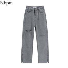 Nbpm Women 2021 Chic Fashion With Split High Waist Slim Loose High Waist Jeans Vintage Streetwear Fe