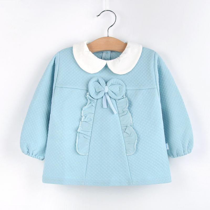 Thick warm Baby outer wear inverted gown children's protective clothing waterproof anti-dressing princess dinner apron
