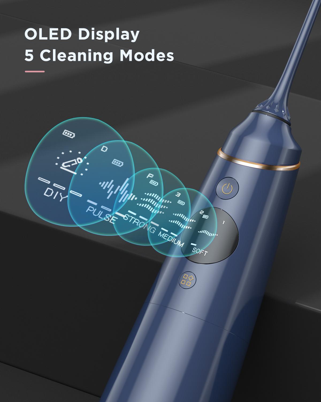 Liberex Cordless Water Flosser 4 Preprogrammed + 10 DIY Modes Oral Irrigator Digital Display 300ML Tank PortableTeeth Cleaner enlarge