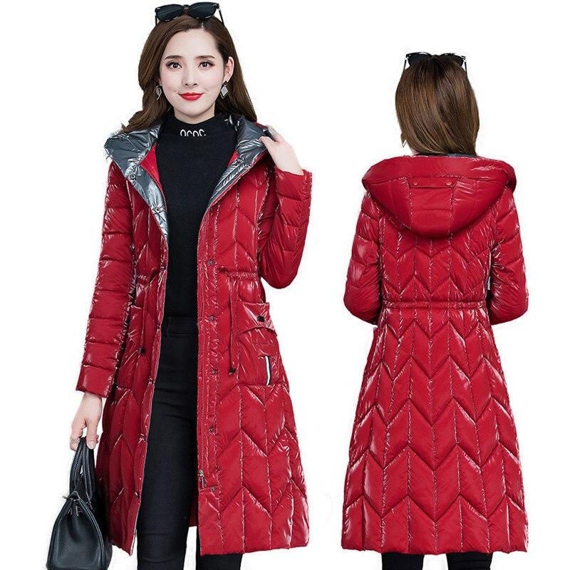 SHZQ السيدات أسفل سترة 2021 جديد الخريف والشتاء مشرق الوجه منتصف طول ضئيلة مزاجه الموضة العصرية سترة