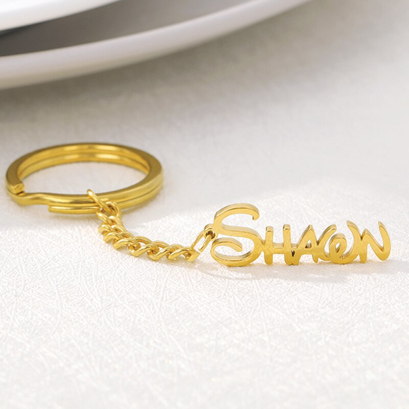 Personalized Name Pendant Stainless Steel Nameplate Keychain Women Men Handmade Custom Keychain Jewelry Mom Friend Birthday Gift недорого