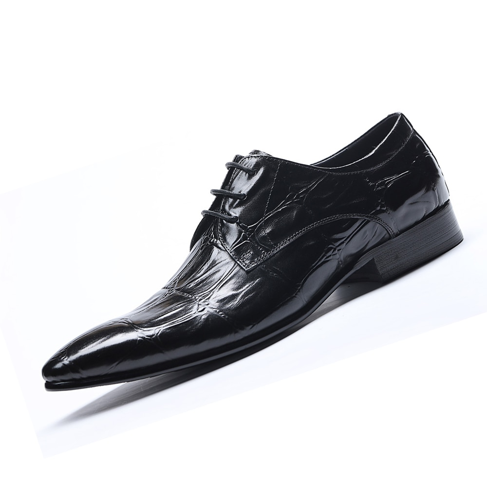 Autumn and winter Male Crocodile pattern Business Formal Tip Men's Shoes Man Luxury Social contact Office shoes Wedding shoes