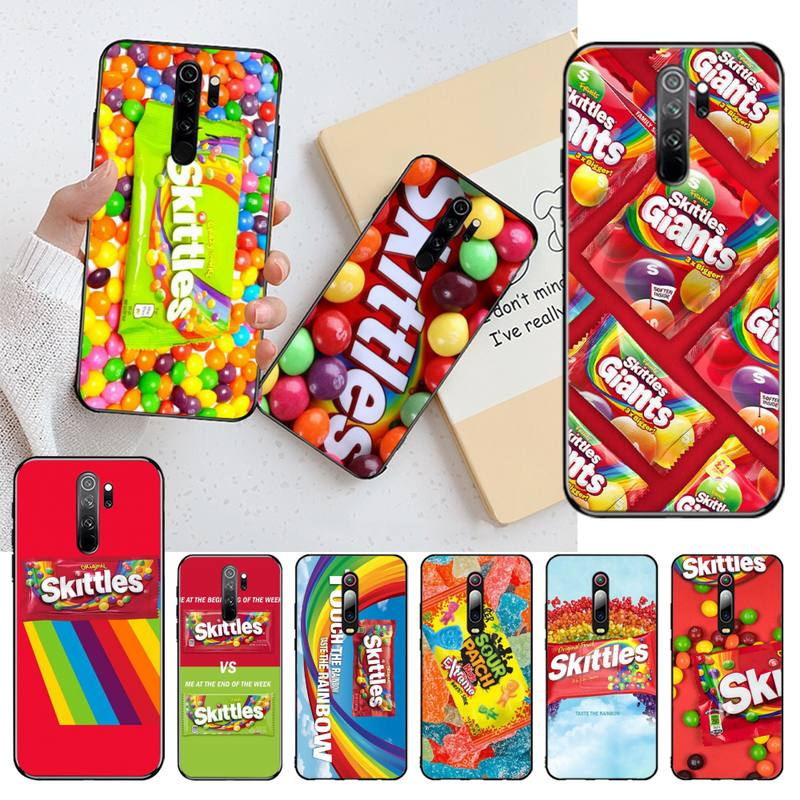 Hpchcjhm skittles fruta azeda doce capa preta casca macia caso de telefone para redmi nota 8 8a 8 t 7 6 6a 5 5a 4 4x 4a go pro