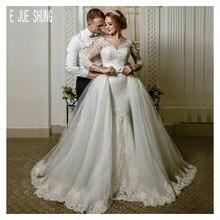 E JUE SHUNG Detachable Skirt Wedding Dresses V Neck  3/4 Long Sleeve Lace Appliques with Bow Dubai vestido de noiva Bridal Gowns