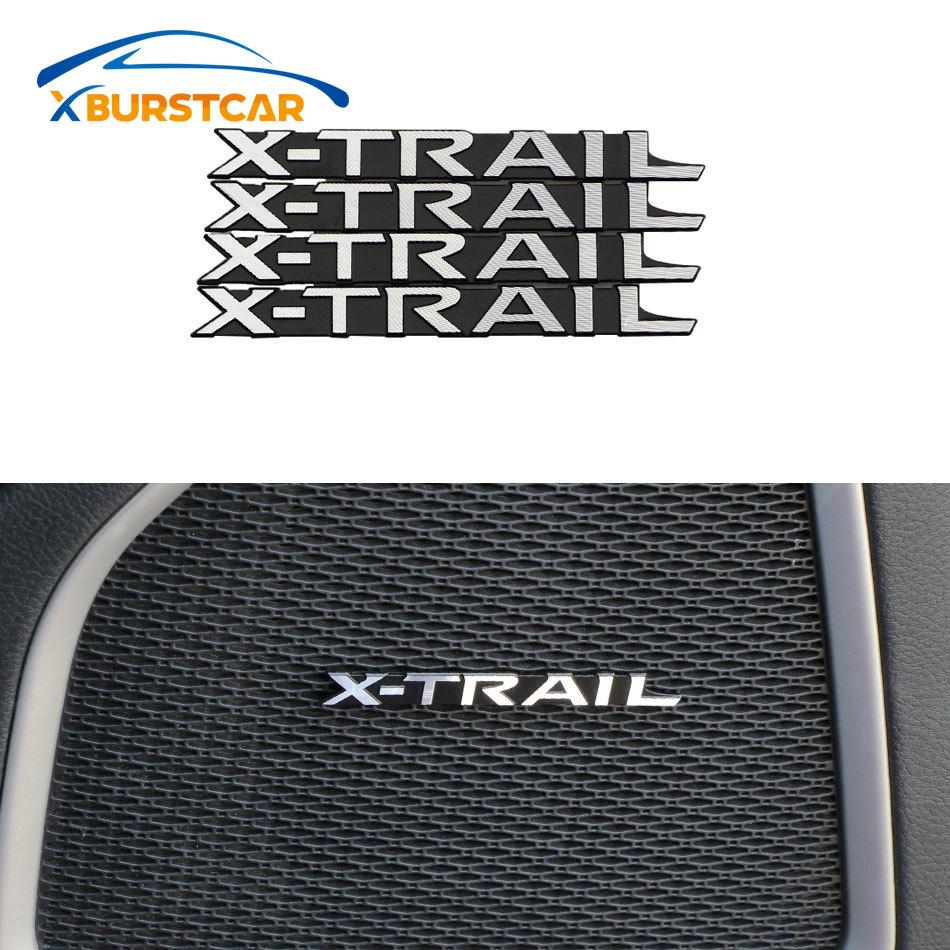 Xburstcar 4 unids/set de pegatinas de decoración de Audio para puerta Interior de coche de aluminio para Nissan x-trail Xtrail Rogue 2012 - 2020 piezas
