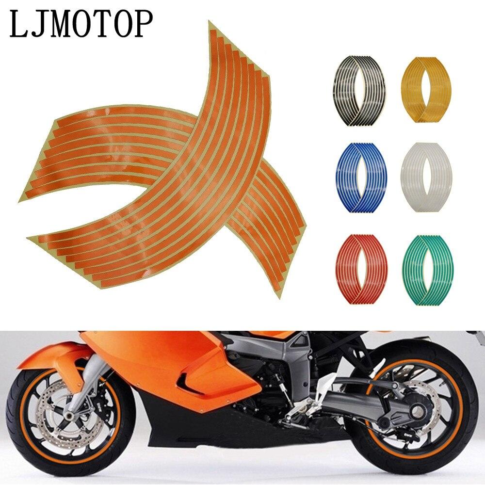 Etiqueta engomada de la rueda reflectante Rim Stripe cinta bicicleta motocicleta pegatinas para Kawasaki Ninja GPZ500 EX500 650R ER6F ER6N Z1000