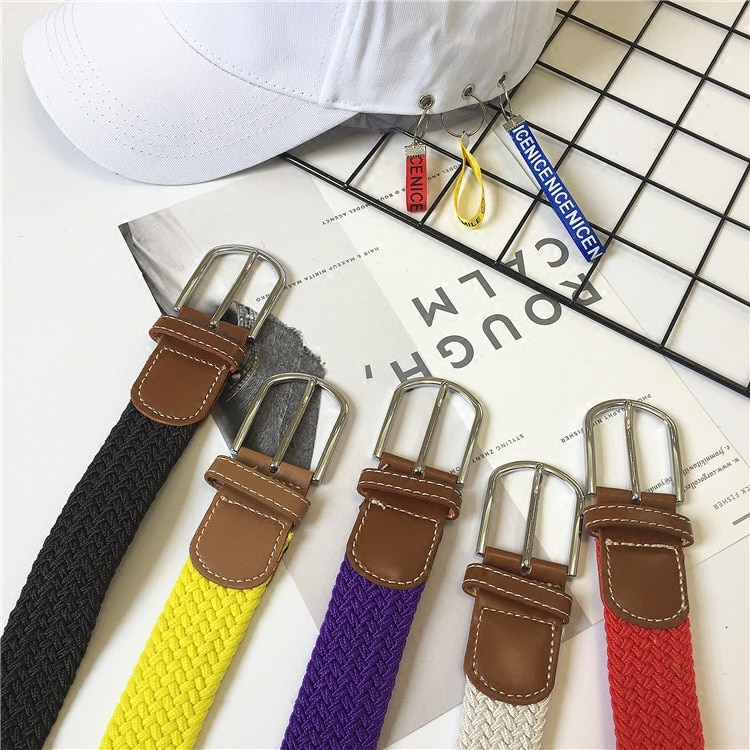 Free Shipping Non-Porous Woven Thin Belt Men and Women Woven Belt Pin Buckle Canvas Elastic Stretch