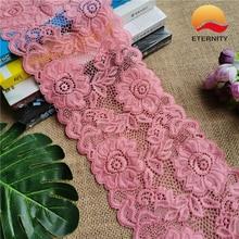 Ruban dentelle élastique E1501 * 14CM   Ruban en tissu, dentelle élastique pour tissu Rose rouge, décoration de mariage, dentelle élastique blanche à grand bord