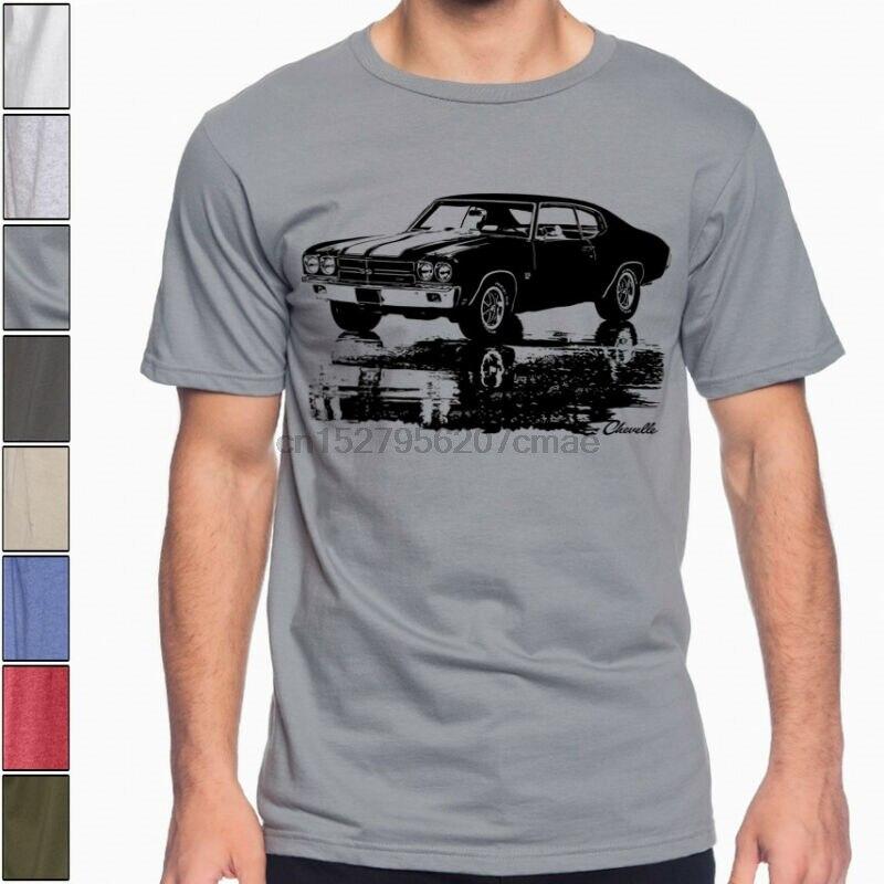 1970 CHEVY CHEVELLE SS silueta Músculo americano coche de carreras Camiseta de algodón suave