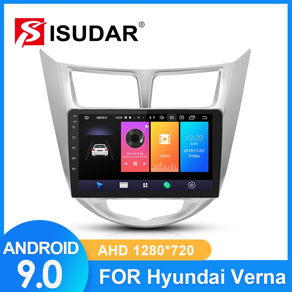 ISUDAR Автомагнитола для hyundai/Solaris/Verna/Accent 2 din Android 9 Авторадио Мультимедиа gps ram 2 Гб rom 32 ГБ USB DVR AHD камера