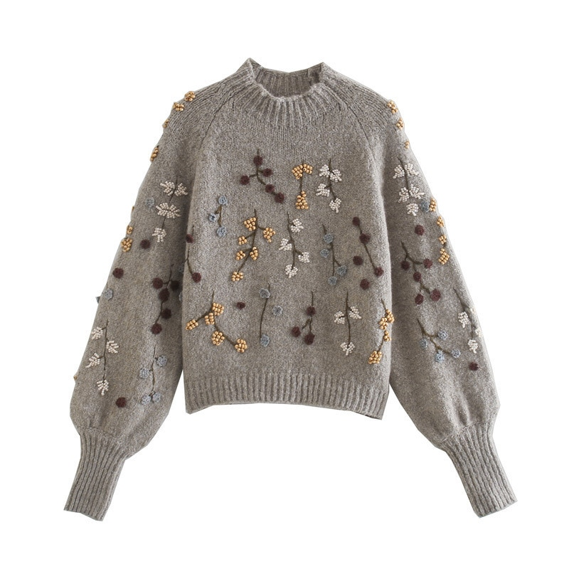 Zoulv Autumn and Winter 2020 High-necked Necking Beaded with Grey Shu Externally Embroidered Plant Flowers Women Warm Sweaters