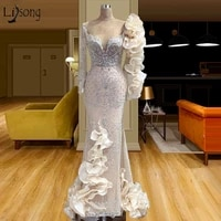 luxury formal evening dresses long sleeves beading prom gowns mermaid celebrity dress party vestidos formales gala custom made