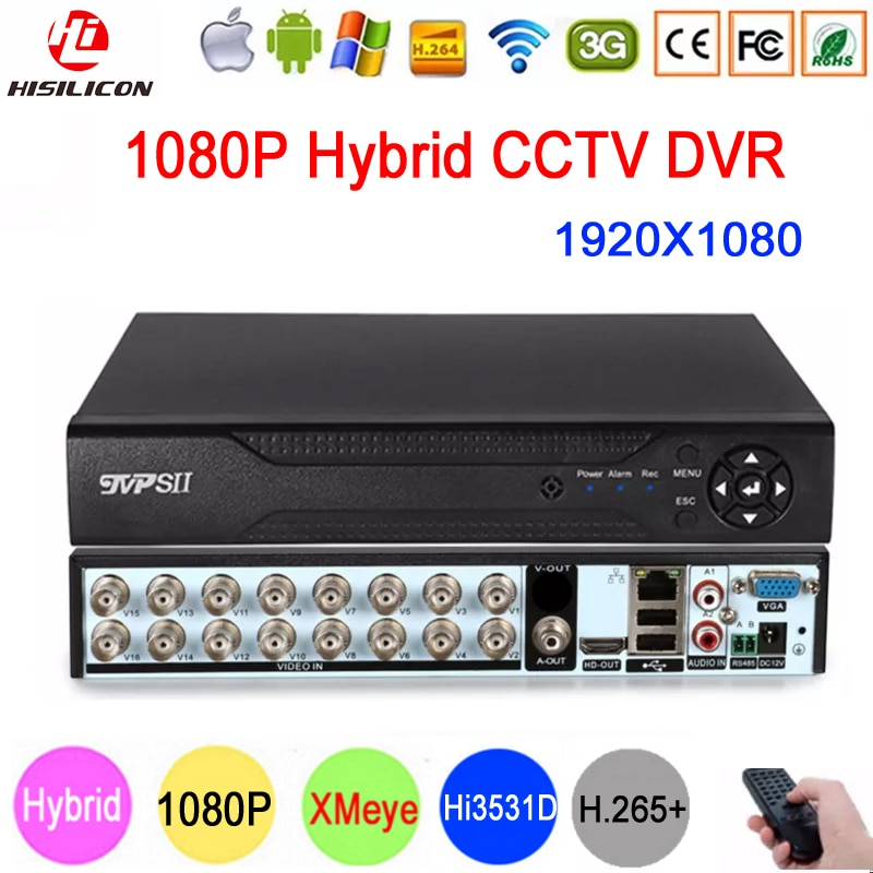 Hi3531D XMeye 1080P 16CH 16 قناة H265 + الصوت 6 في 1 محوري الهجين Onvif XVI NVR TVI AHD CCTV DVR مسجل فيديو للمراقبة