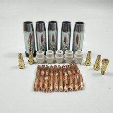 Soplete de soldadura de 24KD consumible, 35 Uds., 0,8mm, 1,0mm, 1,2mm, soporte de punta de boquilla de Gas, difusor de Gas de la máquina de soldadura MIG MAG