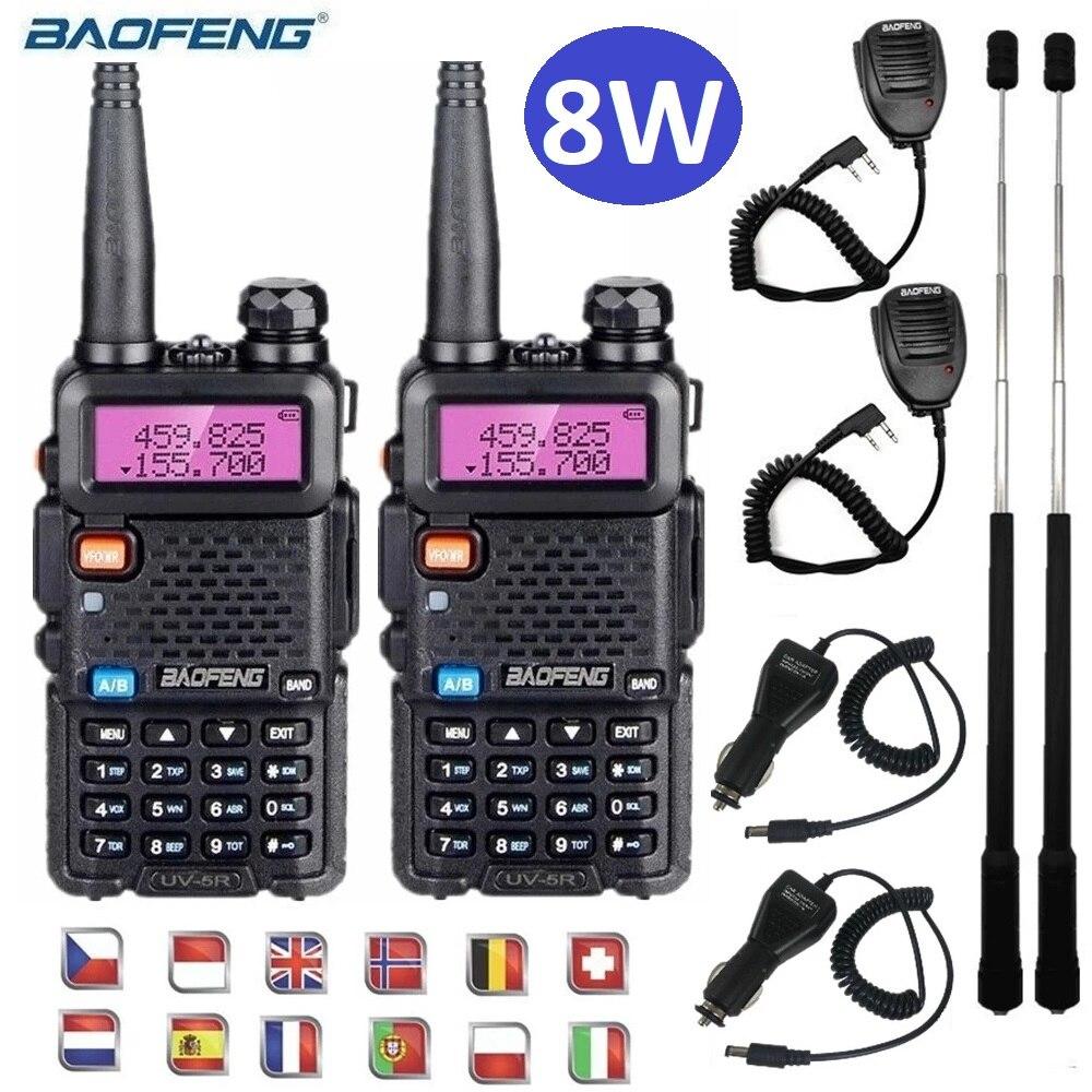 2 قطعة تالكي وكي Baofeng UV5R 8 واط قوية اسلكية تخاطب VHF/UHF اتجاهين جهاز الإرسال والاستقبال اللاسلكي CB هام محطة راديو UV-5R UV 5R 20 كجم