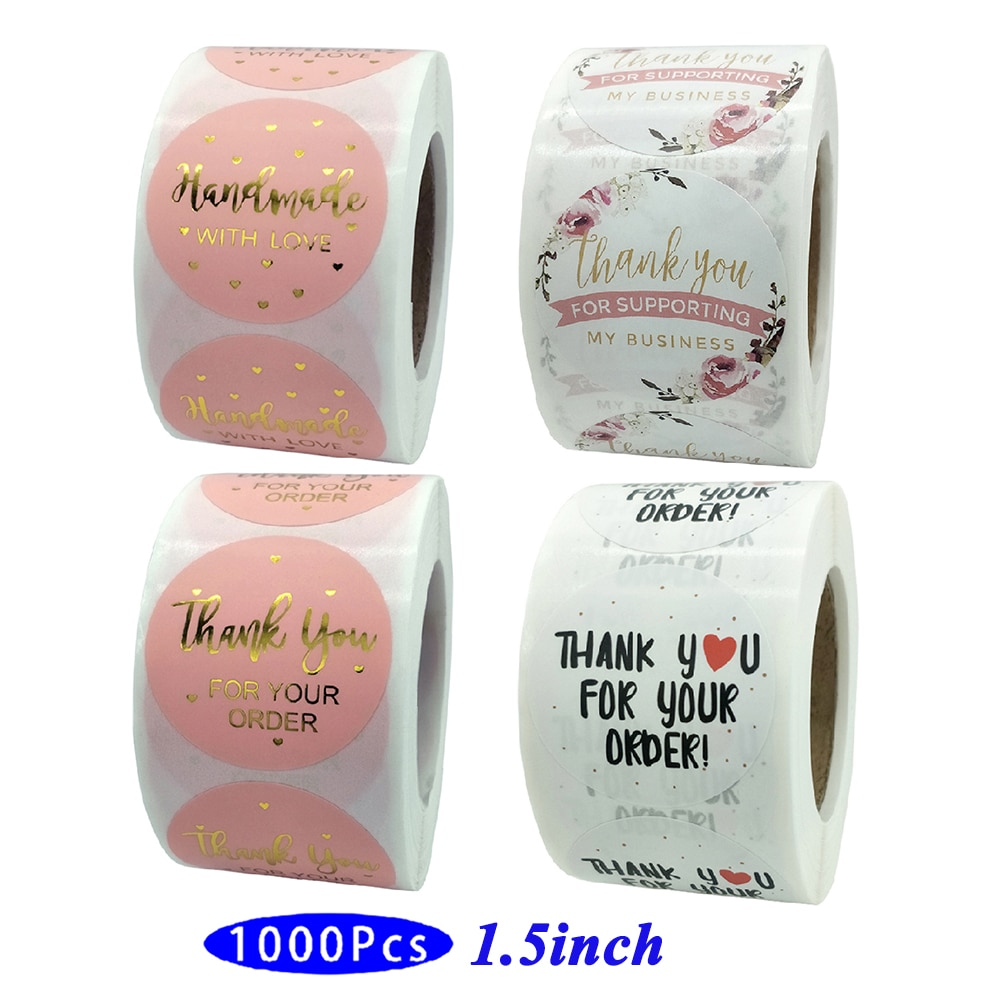 1.5'' 1000Pc Kawaii Thank you Stickers Handmade Love Business Order Supply Cute Aesthetic Label Scrapbooking Seal Gift Packaging