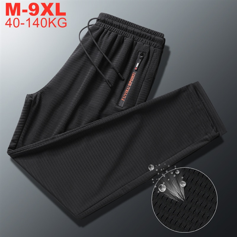 Мужские летние брюки с поясом на резинке, черные джоггеры 2021 больших размеров, большой размер 8XL 9XL 7XL, быстросохнущая техническая одежда, муж...