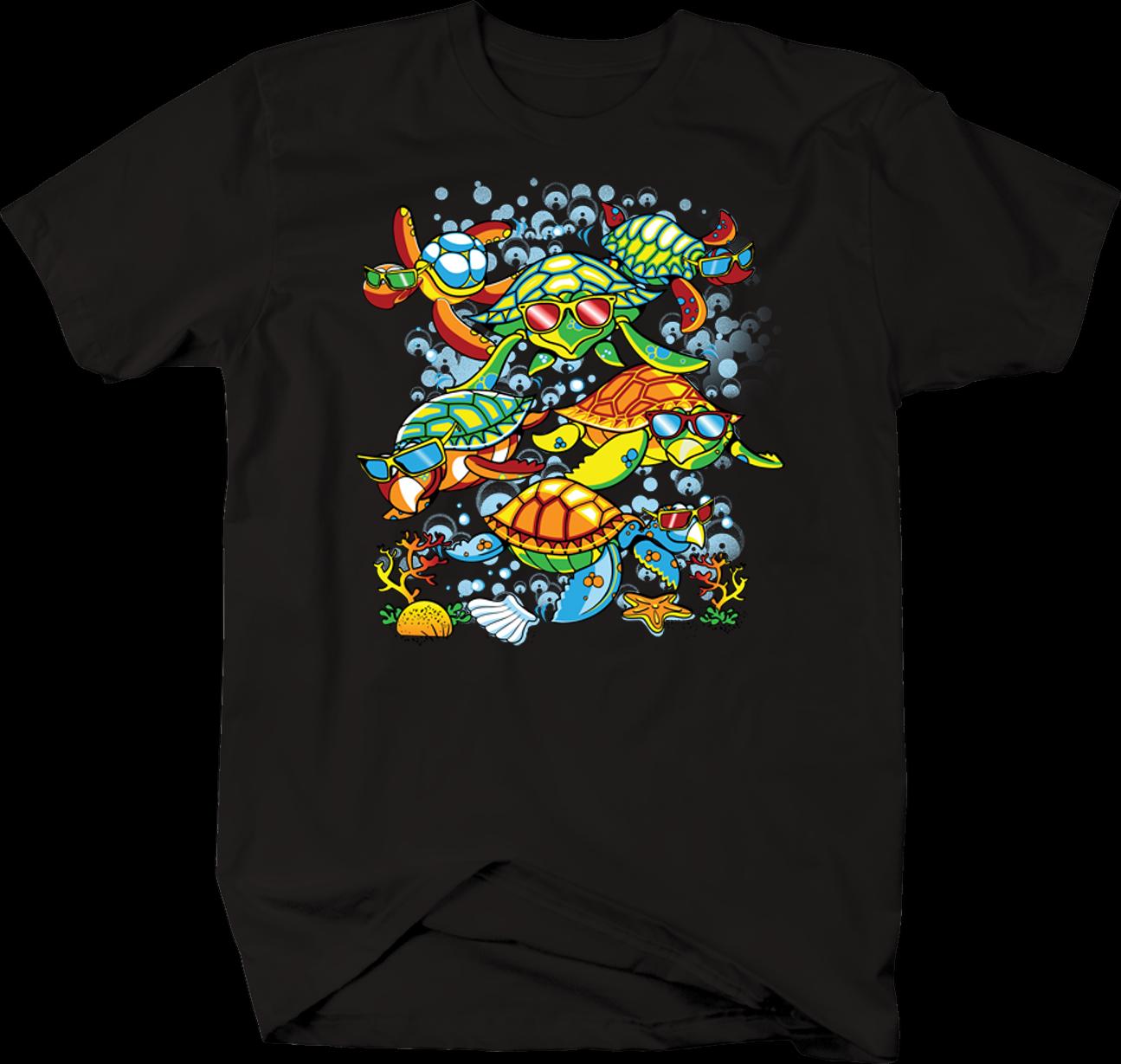 Coloridas tortugas marinas nadando en el océano conchas de Coral gafas de sol camiseta