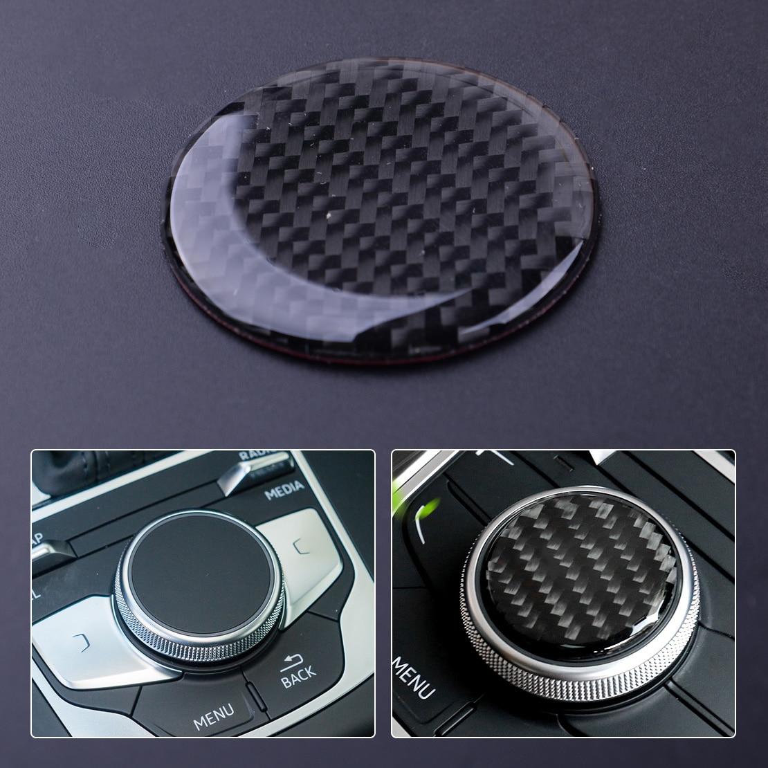 beler Carbon Fiber Black Car Multi-Media Control Knob Decor Sticker Fit For Audi A3 S3 8V 2014 2015 2016 2017 2018 2019